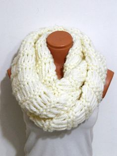 Hand Knit,knitted,infinity Scarf Block Infinity Scarf. Loop Scarf, Circle Scarf, Neck Warmer. coffee and cream  Crochet Infinity