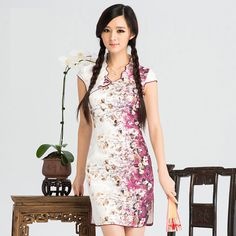 Traditional Chinese Clothing - Elegant Cheongsam Qipao Dress with Flower Pattern Blue / Purple