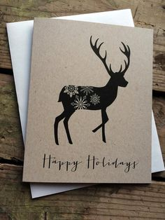 Rustic Reindeer Happy Holidays Cards / by PontoMountainPaper  Christmas Cards, Reindeer, Happy Holidays, Snowflake, Deer, Calligraphy Font, Rustic Christmas, Country Christmas, Handmade, One-of-a-kind Card