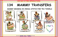 Mammy Embroidery Transfer Pattern Iron on Days of The Week 134 ...
