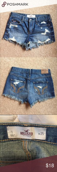 ✨Hollister High Waisted Distressed Denim Shorts These shorts are in EUC! I've taken great care of these shorts and they are just like new. Size is 1 waist: 25. No signs of wear/tear. Perfect condition! Hollister Shorts Jean Shorts