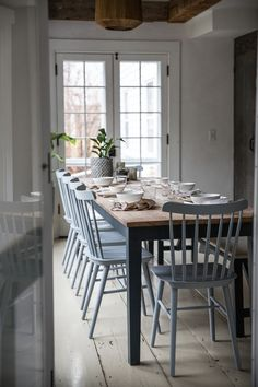 Soul: A Revolution-Era Hudson Valley Home Gets an Update from Jersey Ice Cream Co. Salt Chair from DWR. Jersey Ice Cream Co. Old Chatham House, Remodelista, dining tableSalt Chair from DWR. Jersey Ice Cream Co. Old Chatham House, Remodelista, dining table Chatham House, Table And Chairs, Blue Chairs, Room Chairs, Colored Dining Chairs, Accent Chairs, Office Chairs, New Kitchen, Eat In Kitchen Table