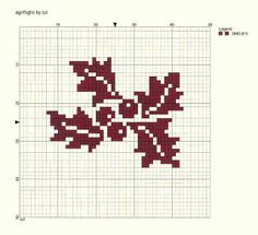 Cross stitch: holly for a stocking Small Cross Stitch, Modern Cross Stitch, Cross Stitch Charts, Cross Stitch Designs, Cross Stitch Patterns, Cross Stitching, Cross Stitch Embroidery, Embroidery Patterns, Theme Noel