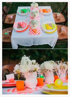 Neon wedding table http://www.100layercake.com/blog/wp-content/uploads/2012/09/neon-bridal-shower-3.jpg