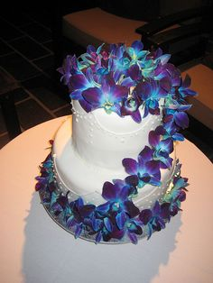 Blue Orchid Wedding Cake photo by Tantissimo Cakes from Flickr at Lurvely