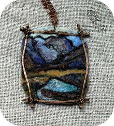 The landscape pendant Mountains Felted pendants by MarinaDyachenko