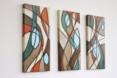 mid century modern original art teal aqua orange by StudioZen