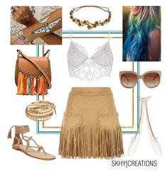 """Coachella Ready"" by skhycreations on Polyvore featuring For Love & Lemons, Just Cavalli, Jennifer Behr, STELLA McCARTNEY, Flash Tattoos, Chloé and Chan Luu"