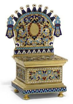 A RUSSIAN SILVER-GILT AND CLOISONNE ENAMEL THRONE SALT IN PAN-SLAVIC STYLE  MARK OF PAVEL OVCHINNIKOV, MOSCOW, 1894 AND FURTHER STRUCK WITH WORKMASTER'S MARK (?) M.R. (CYRILLIC)http://www.christies.com/