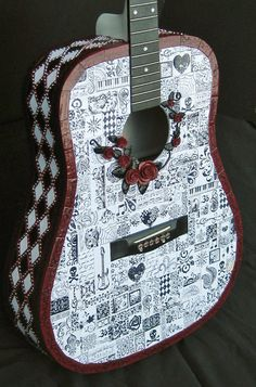 Mixed Media Polymer Clay Mosaic Guitar by raecrowstudio on Etsy