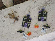 Spooky House earrings Halloween earrings by MotherHenBeads on Etsy