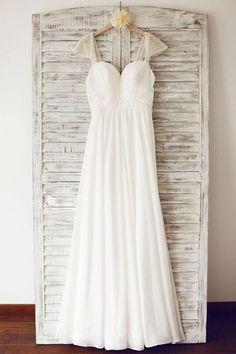 Cap Sleeve Floor Length Chiffon Pleated Wedding Dresses With Beading WD067