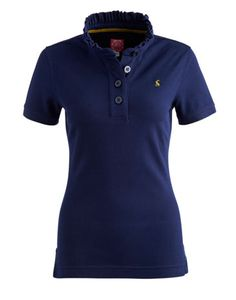 Joules null Womens Frilled Collar Polo, French Navy.                     Simply frilling