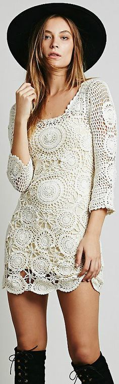New crochet dress boho chic boots ideas Style Boho, Hippie Style, Boho Chic, Gilet Crochet, Crochet Lace, Free Crochet, Boho Dress, Knit Dress, Lace Dress