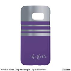 Metallic Silver, Grey And Purple Personalized Samsung Galaxy S7 Case
