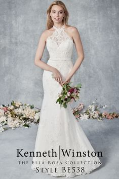 Ella Rosa 2020 collection Beautiful fit & flare dress with a halter neckline. This has a Corded Sparkle Alencon Lace. Tea Length Wedding Dress, Wedding Dresses Plus Size, Modest Wedding Dresses, Wedding Dress Styles, Bridal Dresses, Classy Dress, Fit And Flare, Dresses With Sleeves, Ivory