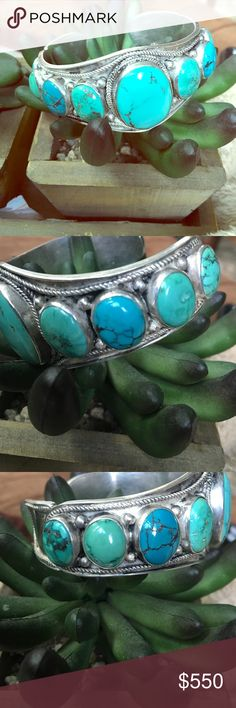 Old pawn Navajo for my  turquoise cuff Sterling silver 9 turquoise Stones great vintage condition.. Native American Jewelry Bracelets