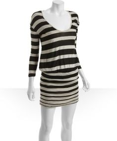 Soft Joie : caviar and barley striped jersey 'Jameson' blouson dress