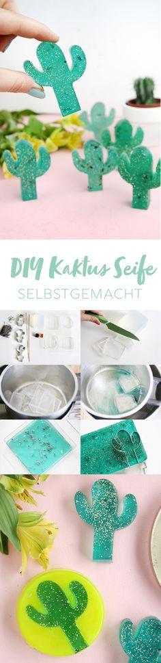 Kreative DIY Idee mit Anleitung: DIY Kaktus Seife mit Glitzer einfach selbermachen | DIY Tutorial | DIY Blog | DIY Seife | Seife selbermachen