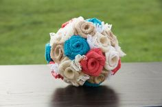 Burlap Bouquet Coral and Turquoise Burlap by janes2daughters