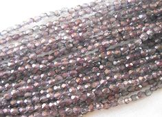 Fifty 3mm Light Purple Rosaline Moon Dust Czech glass, firepolished, faceted round beads, C4550