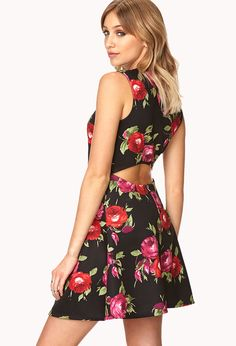 $19, Rebel Rose Skater Dress by Forever 21. Sold by Forever 21. Click for more info: http://lookastic.com/women/shop_items/58762/redirect