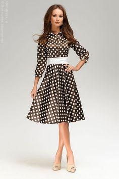 b964701ad3b3 Платье шоколадное длины миди с принтом