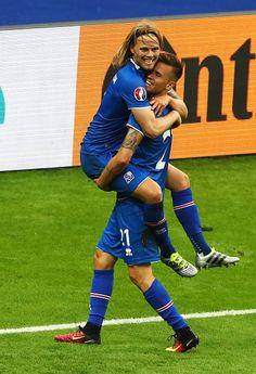 2c3f4dc59  EURO2016 Birkir Bjarnason of Iceland and Arnor Ingvi Traustason of Iceland  celebrate winning the UEFA