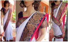 Blue and white shimmer chiffon saree