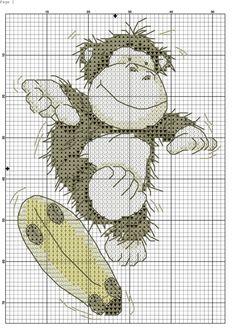 Gallery.ru / Фото #41 - μικρα - ergoxeiro Monkey Crafts, Cross Stitch Boards, Cross Stitch Animals, Animal Nursery, C2c, Le Point, Cross Stitching, Needlepoint, Cross Stitch Patterns