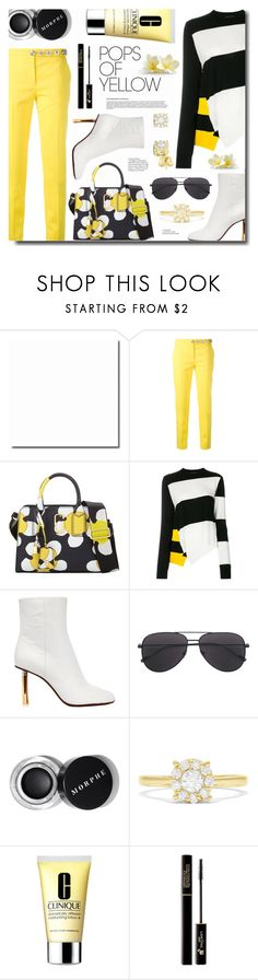 """Get Happy: Pops of Yellow"" by ames-ym ❤ liked on Polyvore featuring Versus, Marc Jacobs, Calvin Klein 205W39NYC, Vetements, Effy Jewelry, Clinique and Lancôme"