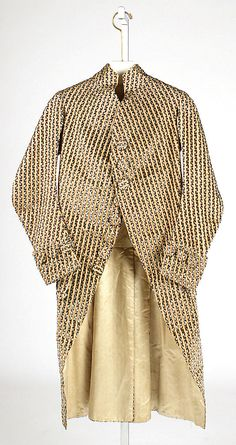Coat  Date: ca. 1780 Culture: French Medium: silk Dimensions: Length at CB: 43 1/2 in. (110.5 cm) Credit Line: Hoeschst Fiber Industries Fund, 1981 Accession Number: 1981.313.1  This artwork is not on display