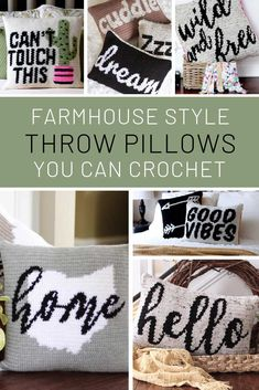 Farmhouse Tapestry Crochet Pillows {that make great gifts!} Farmhouse Tapestry Crochet Pillows {that make great gifts! Crochet Pillow Pattern, Crochet Cushions, Tapestry Crochet, Crochet Patterns, Crochet Blankets, Crochet Stitches, Yarn Projects, Crochet Projects, Knitting Projects