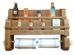 Rustic Wooden Spice Rack With Rope Kitchen Towel Holder Large Size