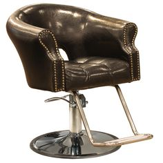 The Arnage styling chair is part of our Avei line of salon furniture and features Antique Black vinyl, large upholstered arms with tack heads, extra thick tufted seat cushion and dual bar stainless steel footrest. $379.00