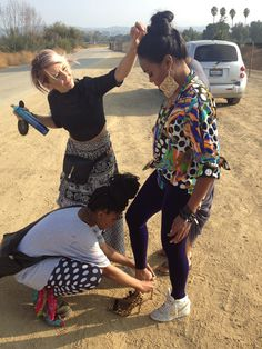 Thrifty Hunter glam squad in action! Pictured is hairstylist Briana Cisneros, and wardrobe stylist Gabby Lewis touching up Tatyana Ali's outfit! Tatyana Ali, Spring Outfits, Squad, Behind The Scenes, Eye Candy, Stylists, Action, Photoshoot, Couple Photos