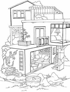 House Colouring Pages, Coloring Book Art, Coloring Sheets, Disney Stained Glass, Free Adult Coloring Pages, Bullet Journal Lettering Ideas, House Sketch, Bear Wallpaper, Sketches
