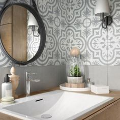 A successful blend of barber mirror and cement tile - Bathroom 01 Interior Stairs, White Walls, Cement Tile, Bathrooms Remodel, House, Home, Round Mirror Bathroom, Modern Vintage Bathroom, Home Decor