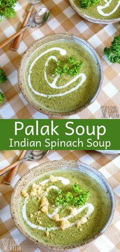 Learn how to make spinach soup, Indian style. Palak soup is a staple of Indian cuisine. It's nutrient-dense, sublimely savory and perfect for chilly nights. #IndianFood #spinach #spinachsoup #palaksoup #keto #paleo #glutenfree #lowcarb #Atkins #lowcarb #ketorecipes #ketopaleo | LowCarbYum.com