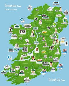 Ireland 101 - Map of Ireland. Super simplistic but easy to use at a glance.