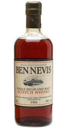 Ben Nevis 1966 25 yo Single Highland Malt Scotch whisky bottled in early Whiskey And You, Cigars And Whiskey, Scotch Whiskey, Rum Bottle, Liquor Bottles, Drinks Alcohol Recipes, Alcoholic Drinks, Highland Whisky, Single Malt Whisky