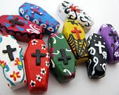 4 Large Day of the Dead Coffin Beads - CB624