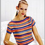 Striped Boat Necked Pullover By Patons Design Centre - Free Crochet Pattern - (canadianliving)