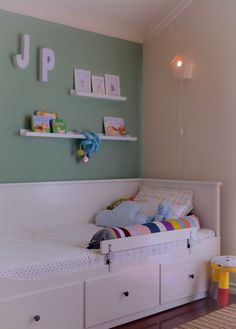kids room - ikea hemnes bed for boys, ferm living snake cushion, olli ella bedlinen, handmade birdhouse lamp