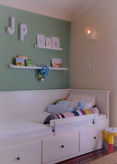 kids room - ikea hemnes bed for boys, ferm living snake cushion, olli ella bedlinen, handmade birdhouse lamp