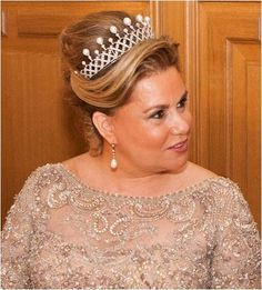 Guy Wolff/Grand-Ducal Court of Luxembourg via Getty Images Grand Duchess Maria Teresa of Luxembourg wears the Chaumet Choker Tiara a. Royal Crowns, Tiaras And Crowns, Chaumet, Royal Jewelry, Royal Weddings, Pearl Choker, Hair Ornaments, Crown Jewels, Hair Jewelry