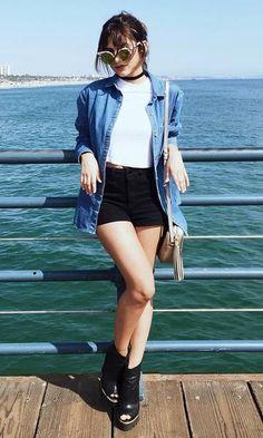 Look Manu Gavassi: básico jeans + shorts