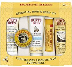 Burt's Bees Essential Everyday Beauty Gift Set, 5 Travel Size Products - Deep Cleansing Cream, Hand Salve, Body Lotion, Foot Cream and Lip Balm -- Check this awesome product by going to the link at the image. (This is an affiliate link) Sinful Colors, Burts Bees Gift, Burt's Bees, Beeswax Lip Balm, Home Spa Treatments, Bee Gifts, Cool Gifts For Women, Unique Gifts, Dry Lips