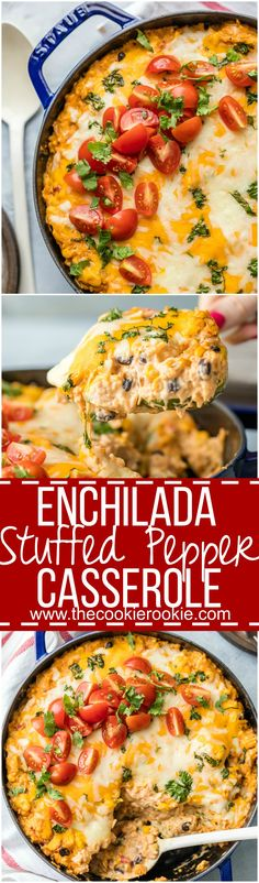 You family will love this ENCHILADA STUFFED PEPPER CASSEROLE, an easy weeknight meal so delicious and full of flavor! Customize with your favorite ingredients to make it your own. AMAZING!