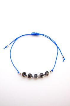 Personalized Handmade Bracelet - Blue Satin Cord + Sterling Silver alphabet design + Sterling Silver beads - Loving Memento